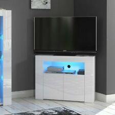 Corner TV Unit Stand Cabinet White Gloss &Matt Led Lights CL07