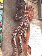 New Lg Wall Hanging Tatooed Octopus Smokin' Tikis Hawaii 113fv