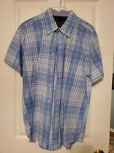 Tommy Hilfiger Men's White Blue Check Button-Down Short Sleeve Shirt - Size XL