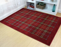 Quality Traditional Tartan Design Rug in Various Colours and Sizes Carpet
