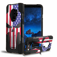For Galaxy S9+ Plus Hybrid Rugged Tough Kickstand Case US Flag Punisher Skull