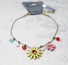 PILGRIM Ankle Anklet Chain Vintage Gold Pink Yellow Swarovski DAISY FLOWER BNWT