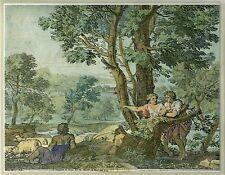 F.DE NEVE (1606-1681) LANDSCAPE WITH SHEPHERDS ORIGINAL 17c HAND-COLORED ETCHING