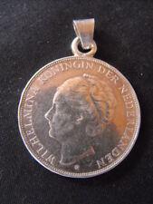 Gros pendentif argent massif pièce Hollandaise Pays-Bas 2 1/2 Gulden de 1940