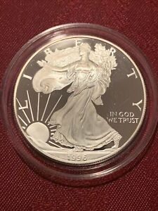1996-P One-Ounce Proof American Silver Eagle. With OGP Box, COA and Clamshell.