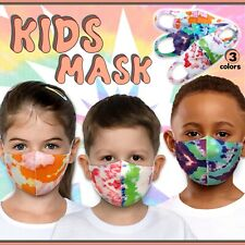 3 Pack Tie Dye Face Mask for Kids! Toddler Reusable Washable Cover Breathable