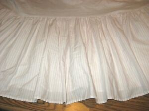 LAURA ASHLEY  Gathered Pink/White Striped Bedskirt - Queen