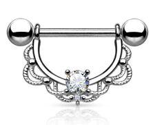 Nipple Bar - Filigree Drop with Clear Crystal - Surgical Steel Bar