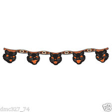HALLOWEEN Decoration JOINTED CAT STREAMER Banner Vintage Beistle 1948 Repro