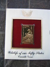 Canada Goose Wildlife 50 States replica 22 kt Gold Stamp FDI FDC Golden Cover