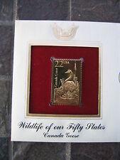Canada Goose Wildlife 50 States replica 22 kt Gold Stamp FDI FDC Golden Cover