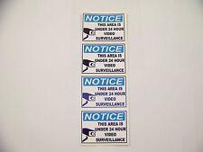 Notice This Area Is Under 24 Hour Surveillance Security Burglar Sticker --4 Pack