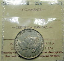1874H Twenty-Five Cents ICCS Certified AU-50 ** BEAUTIFUL Early Victoria Quarter