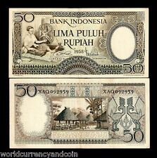 INDONESIA 50 RUPIAH P58 1958 *REPLACEMENT TIMOR WOMAN SPINNER RARE CURRENCY NOTE