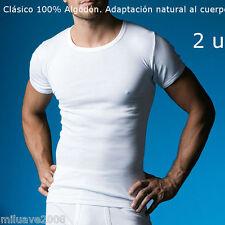 2 CAMISETAS M/C ABANDERADO  ALGODON 100% BLANCO T-SHIRT NATURAL BODY FIT