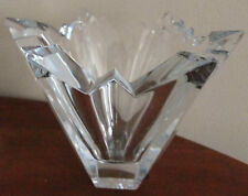 "VINTAGE VERY HEAVY CRYSTAL HAND CUT GLASS  VASE / BOWL 5"" TALL X 7' DIA"