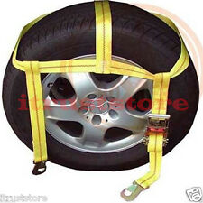 OVER THE TIRE WHEEL RATCHETING WEB AUTO VEHICLE RATCHET TIE HOLD DOWN STRAP SET