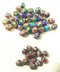 Lot of 47 Gold Plated Cloisonné Flower round and oval Beads multicolor