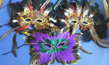 Lot 3 Vintage 1980's Mardi Gras New Orleans Pheasant Feather Costume Masks