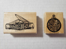 Stampin' Up! Papa's Pocket Knife & Pocket Watch Rubber Stamps Father's Day Dads