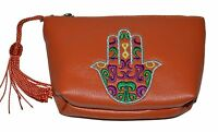 Moroccan Faux Leather Handbag Pouch Purse Women Hamsa Make Up Bag Wallet Orange