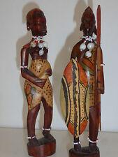 statuettes africaines en bois, joli couple 23 cm