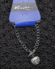Nuevo Color Plata Pulsera de cadena con auténtico corazón de cristal