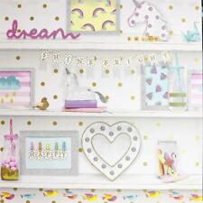 Girls Life Glitter Bookshelf Wallpaper Polka Dot Heart Unicorn Bird Pink White