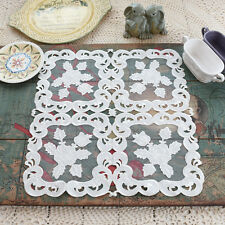 Gorgeous White Rose Embroidery Cutwork Sheer Patch Table Topper