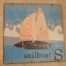 Sailboat Art Pottery Barn Wall Hanging Vintage Design