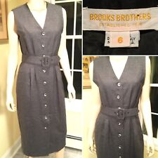 BROOKS BROTHERS Gray Wool Sleeveless Button-Down Belted Shift Dress Size 6/Small