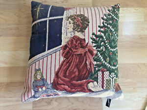 "Newport Tapestry Toss Pillow Christmas Star Wish Little Girl Tree Doll 15"" Sq"