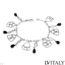 DV ITALY  Charm Bracelet W/Genuine Crystal Crafted in 925 Sterling silver