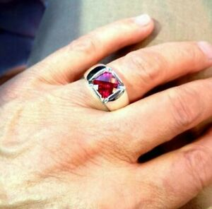 1.25 ct Cushion Cut Ruby Men's Statement Pinky Ring White Gold Plated 925 Silver