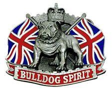 Bulldog Spirito Fibbia della Cintura British Union Flag & Crown autentico Dragon Designs