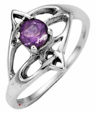 Open Swirl Design Offset Amethyst Stone Ring Crafted In Sterling Silver Celtic
