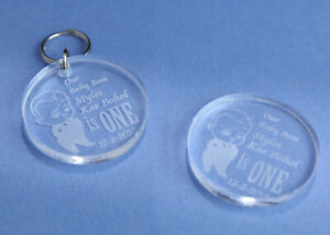 BABY BIRTHDAY BABY BOSS ROUND ACRYLIC TAGS BOMBONIERE FAVOURS LASER ENGRAVED