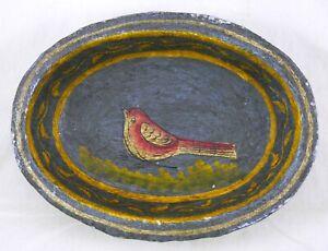 19th C Kashmiri Indian Papier Paper Mache Bowl. Black & Gold w Colorful Songbird