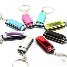 4 Hole Mini Harmonica Design Stainless Steel Metal Key Chain Key Ring Chain Loop