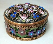 Trinket Jewelry Box Flowers Floral Pink Purple Enamel Blue Yellow Rhinestones