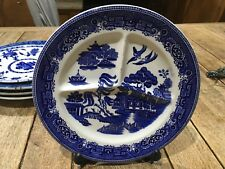 Antique Maling blue Willow Pattern Serving Plate platter