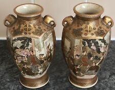 SIGNED PAIR of antique SHIMAZU SATSUMA pottery WARRIOR & COURT scenes VASES