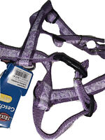 Trixie Purple Flower Impression Quality Nylon Webbing Dog Harness M/L