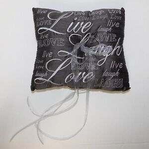 Wedding Ring Pillow Scroll Embroidery Sheer Ribbon Brown White Love Laugh Live