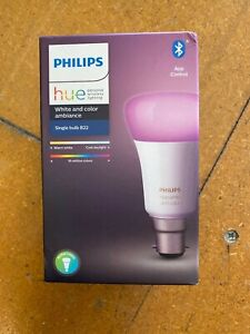 PHILIPS HUE WIRELESS LIGHTING SMART BULB- COLOR AND AMBIANCE B22