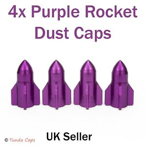 4x Purple Rockets Dust Caps Car BMX Bike Motorbike  Tyre Valve Wheel Metal