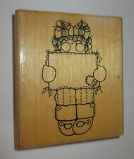 """Whitney's Message Rubber Stamp Girl Holding Sign Heart Pigtails D.O.T.S. 3.5"""" Hi"""