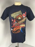 VTG 90s Cleveland Indians MLB Baseball Fan  Blue S/S t-shirt Sz M Chief Wahoo