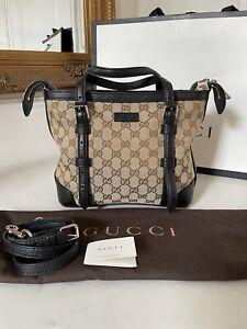 100% AUTHENTIC Gucci GG Supreme Brown Canvas & Black Tote Crossbody Bag