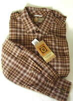 GH BASS Earth Brown Plaid Windwash Oxford Cotton Shirt Mens Size XL NEW NWT